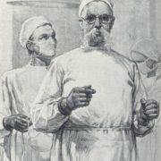 Surgeon I.P. Vinogradov before the operation, 1949