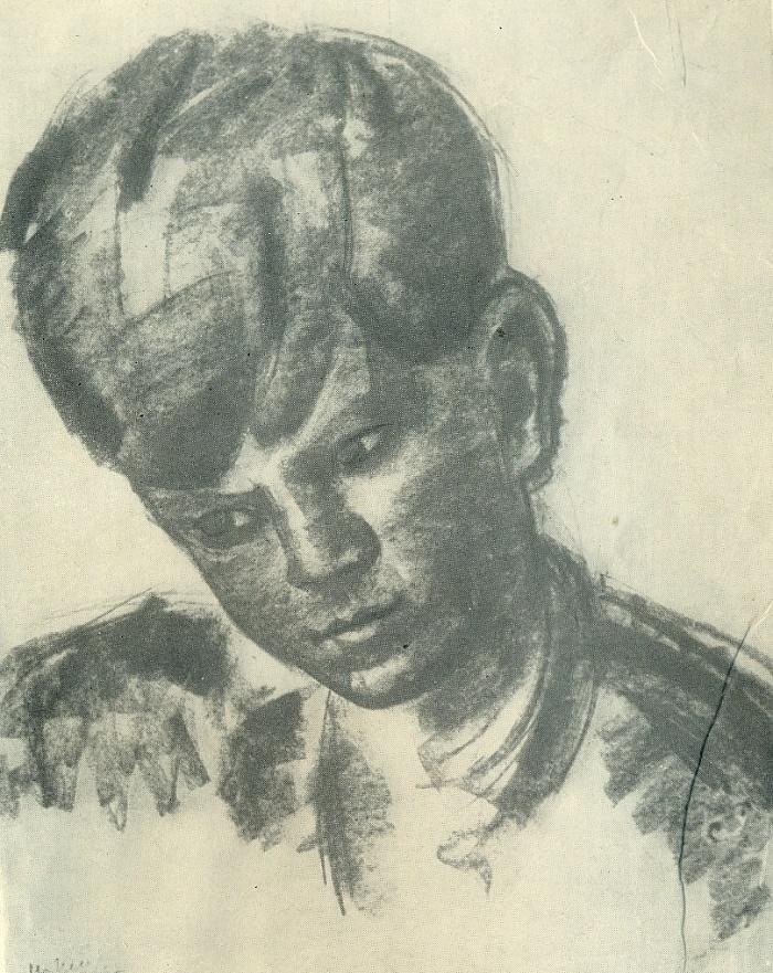 The boy's head. Paper, sanguine. 1937