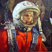 Yuri Alekseevich Gagarin, 1974. Painting by Soviet artist Andrei Ivanovich Plotnov (July 21, 1916 - May 13, 1997)