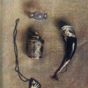 A vase, a horn, a bracelet. Deep engraving, Niello, enamel. 1948