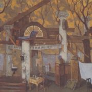 An old house. 1978. Design sketch. Canvas, tempera