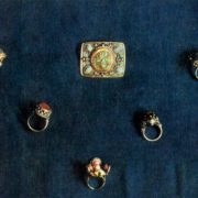 Brooch and rings. Sawing, grain. 1962