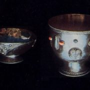 Cup and bowl for wine. Filigree, gavars, stones. 1964