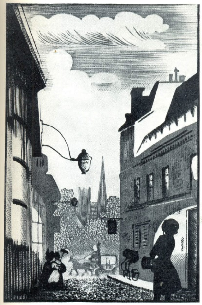 Illustration for the novel by Charles Dickens 'Great Expectations'. Engraving on the tree. 1940