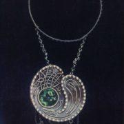 Necklace 'Cosmos'. Gavars, watering enamel. 1965
