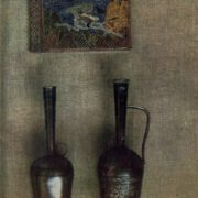 Silver book 'Merani' by N. Baratashvili. Cloisonne enamel, engraving. Pitcher 'Chinchikha', Niello