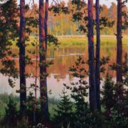 By the evening. Lake Malenets. Mikhailovskoe, 1978
