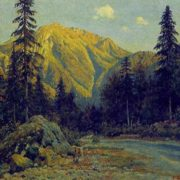 Evening in the mountains near Riza lake. 1953