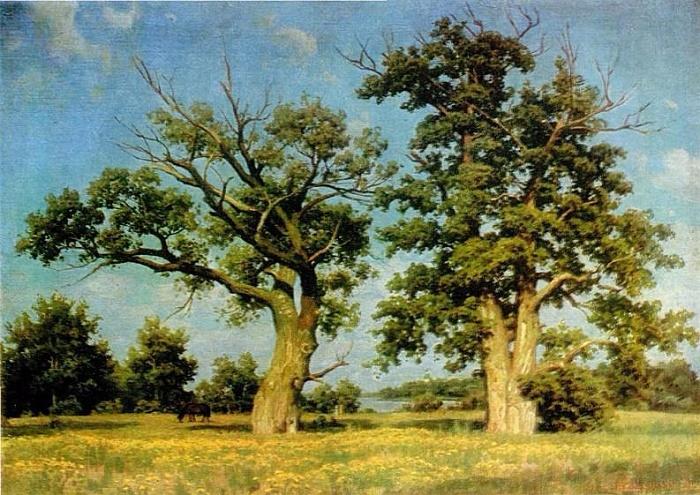 Experienced poplars on the Migulyanka. Cardboard, canvas, oil. 1974