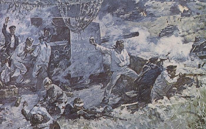 Fight of gun number 1 of artillery battery Aurora on a black mountain 11 September 1941