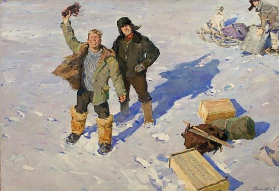Geologists, 1963 (diploma work). Oil on canvas. Painting by Soviet Russian artist Oleg Gadalov (29 August 1935 - 11 June 2016)