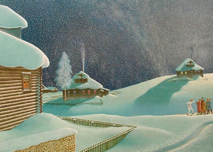 Moonlight night. Mocked. 1983. Fibreboard, oil. Vologda Regional Picture Gallery