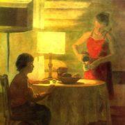 VV Shcherbakov (Moscow). Dinner in the village. Mitseevo. 1980-1981. Canvas, oil
