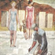 Crossing. 1967. Paper, pencil, watercolor, gouache