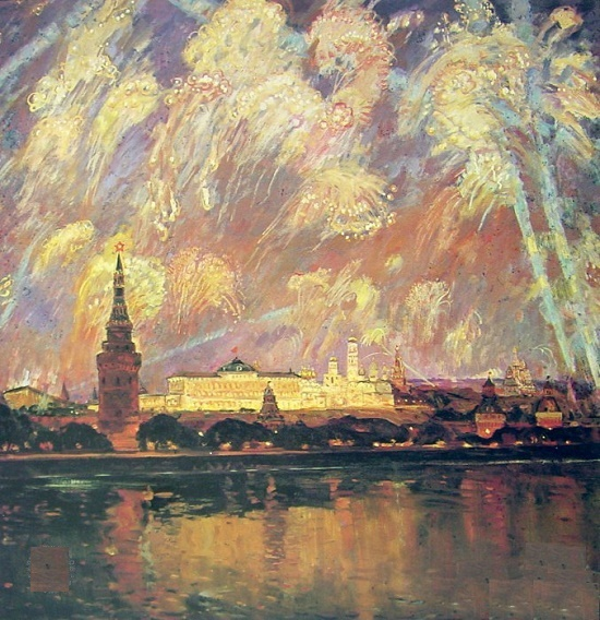 On Victory Day. 1982. Painting by Soviet artist Victor Konstantinovich Dmitrievsky (1923-2006)