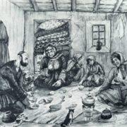 Ramazan visiting the poor. Watercolor. 1938. A.A. Azimzade (1880-1943)
