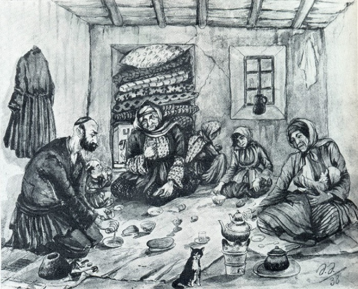 Ramazan visiting the poor. Watercolor. 1938. A.A. Azimzade (1880-1943)