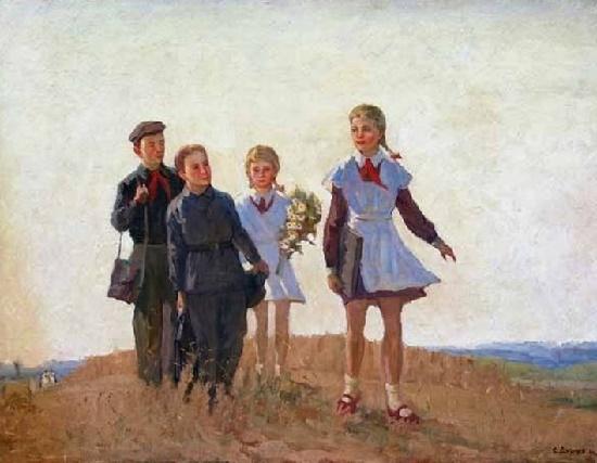 To school. 1954