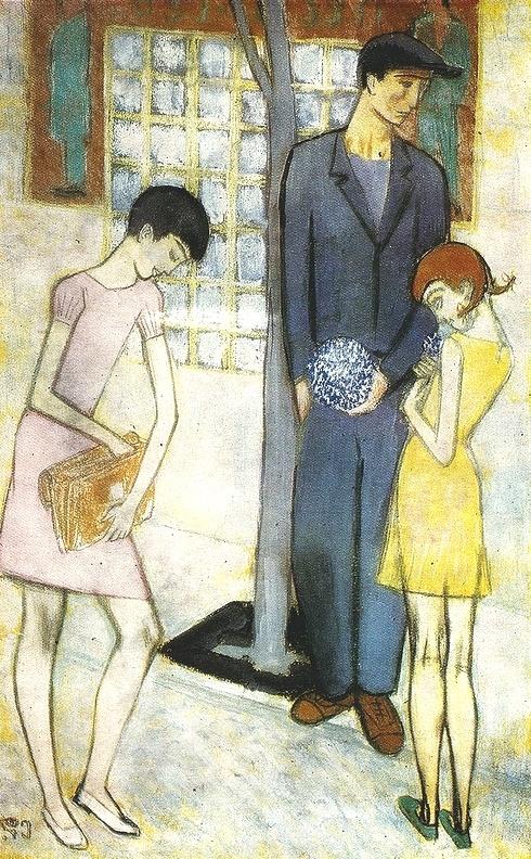 Viola seller. 1959. Paper, pencil, pastel, gouache