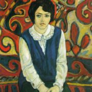 A girl on a background of a carpet. 1973. Oil, canvas