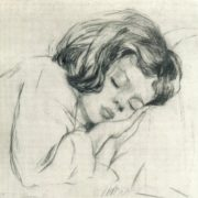 A. Bakh. Sleeping baby. 1955. Dry needle