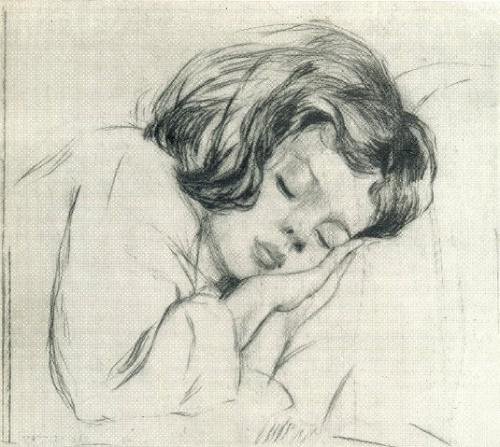 A. Bakh. Sleeping baby. 1955. Dry needle