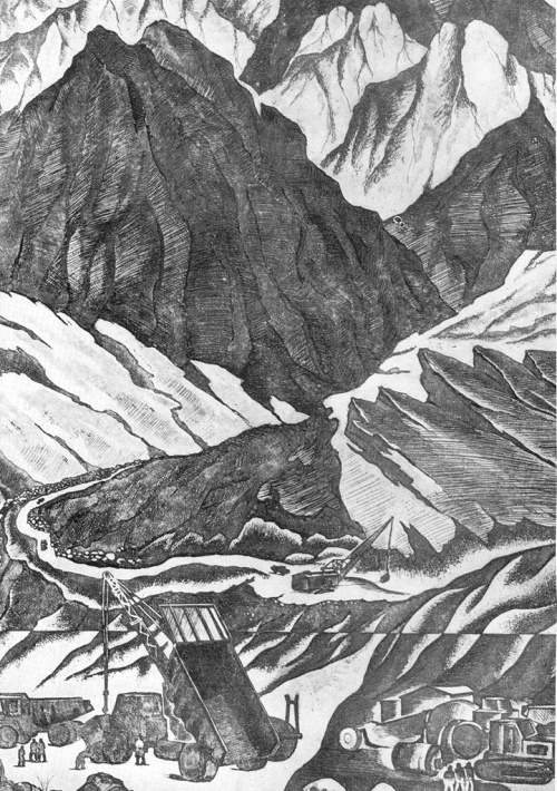 A. Orlov. Equipment in the mountains. From the series' Mountain Tajikistan. Etching. 1982