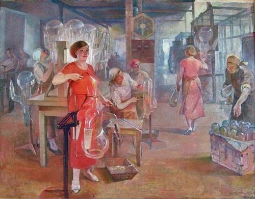 A.G. Sittaro (1906-1942). Komsomol women at the 'Svetlana factory'. 1937