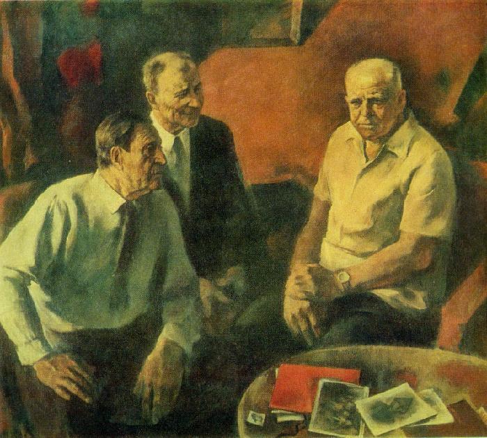 A.I. Kapshuk. Portrait of secretaries of the Lenin Communist Youth League of Ukraine in 1919 F. Zaitsev, P. Yaroshenko, A. Talashenko 1979