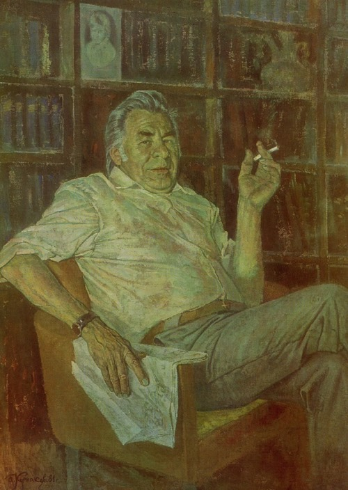 AI Kurnakov (Orel). Portrait of the writer EI Nosov. 1981. Tempera on canvas