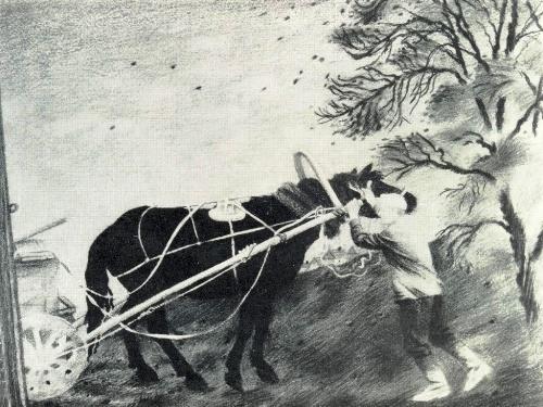 AV Nedostupenko (Bryansk). October. From 'Bryansk Earth' series. 1981. Pastel on paper, tempera
