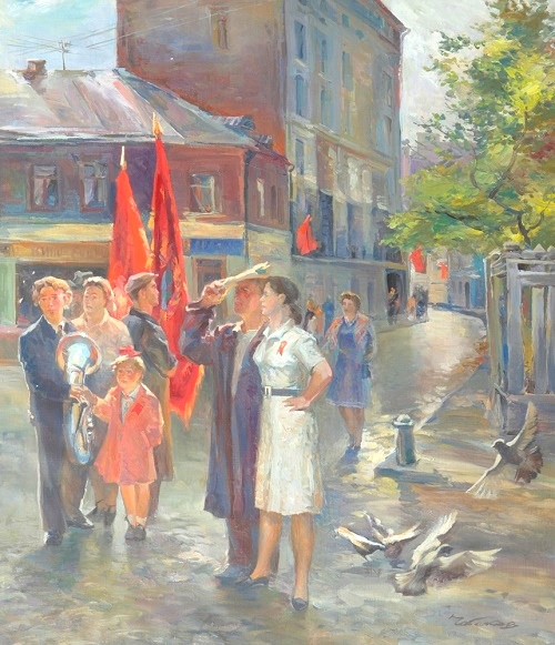 Alexander Chebakov (1951). May Day morning. The series 'Moscow of 1950s'