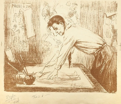 Amshey Markovich Nuremberg (1887-1979). Mayakovsky at work in Windows of ROSTa. 1962