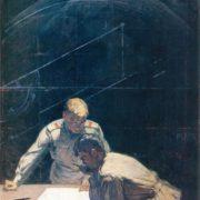 Arkady Intezarov (1909 - 1979). Rocketeer (On Tsiolkovsky rocket equation). 1970. Oil on canvas