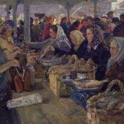 At the Arkhangelsk market. 1956