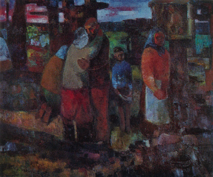 Augustinas Savitskas (1919). In the village burnt by the Nazis. Above the fallen. 1965. Oil on canvas