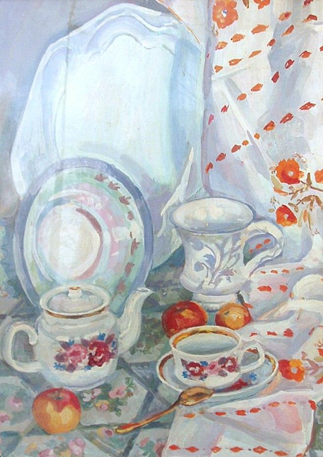 Avrora Yefimovna Sosnovskaya (1929-2010). Still life with apples. 1970s