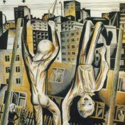 B.Yu. Kaulin (born 1944 Moscow). Boys. 1975. Colored linocut