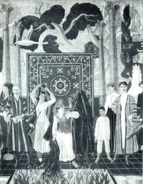 Bahodir Dzhalalov. Theater of the Revolution. Detail of mural Uzbek theater development. Tempera. 1987