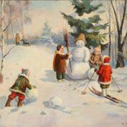 David Varnovitsky (1915). Making snowman