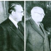 Delegation of the German DR - Prime Minister Otto Grotewohl and Gen.Secretary Walter Ulbricht. R - Secretary of the Italian Socialist Party Pietro Nenni and Gen.Secretary of the CP of Italy Palmiro Togliatti