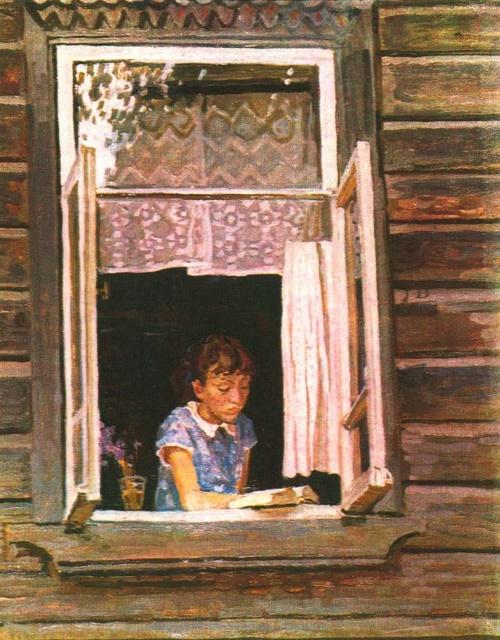 E. Tkacheva. Opened window. Oil. 1987