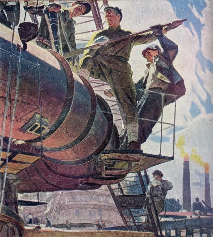 E. Zherdzitsky. Leninist Komsomol - to five-year plan (from the triptych)