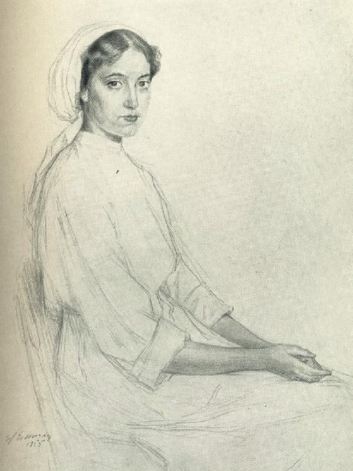 E.Ya. Einman. Nurse Zhanna. 1955. Sepia