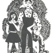 Elena Kuzmina. 10 years old. Our family. Linocut