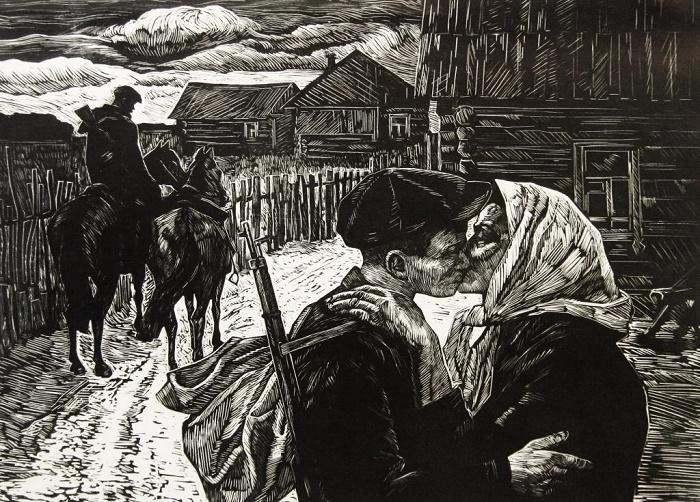 Evgeniy Antonov. 'To the partisans.' Linocut. 1962