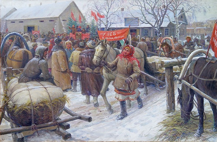 Fedot Sychkov (1870-1958). Process of collecting grain from collective farmers. 1944