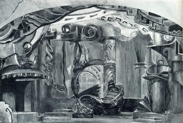 G.B. Yakulov. A sketch of scenery for the play 'Princess Brambilla'. Water color, bronze. Chamber Theater. Moscow. 1920