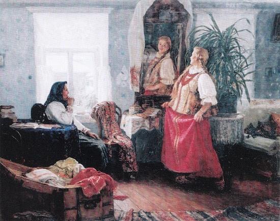 Soviet artist Mikhail Sergeyevich Barancheyev. Granny's outfits. 1957