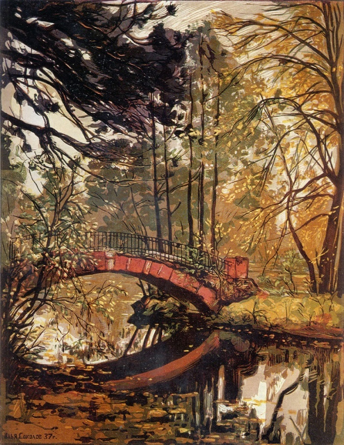 I.A. Sokolov. Autumn. Kuzminki. Colorful linocut. 1937